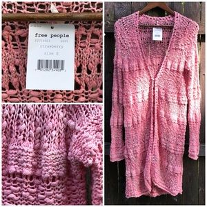 NWT Strawberry 🍓Pink FREE PEOPLE Long Cardigan S